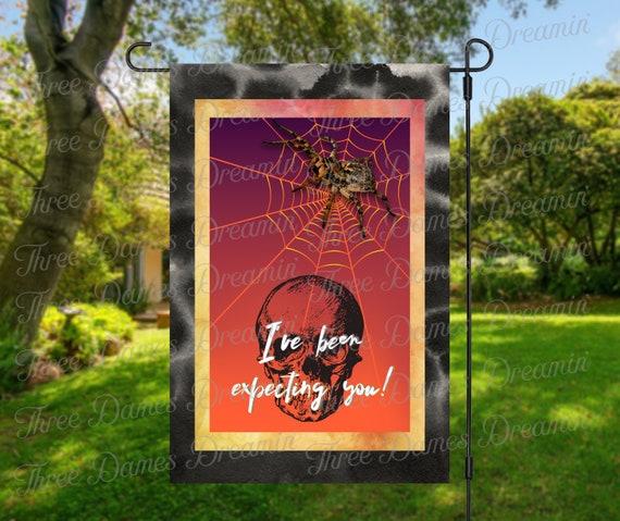 Halloween Spider Skull Halloween Garden Flag Digital Download