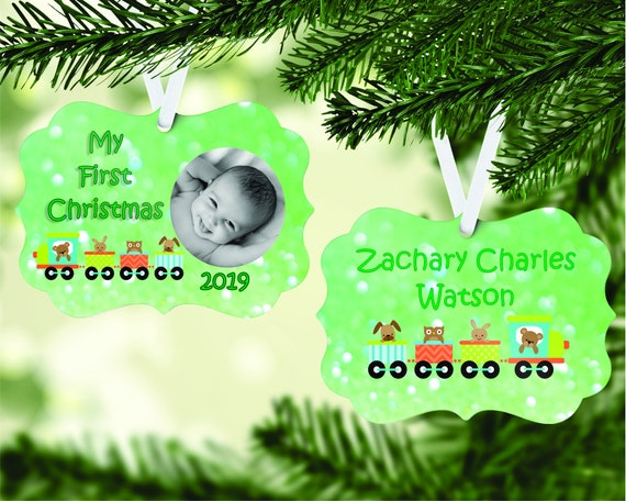 Baby's 1st Christmas Photo Insert with train Ornament Digital Download