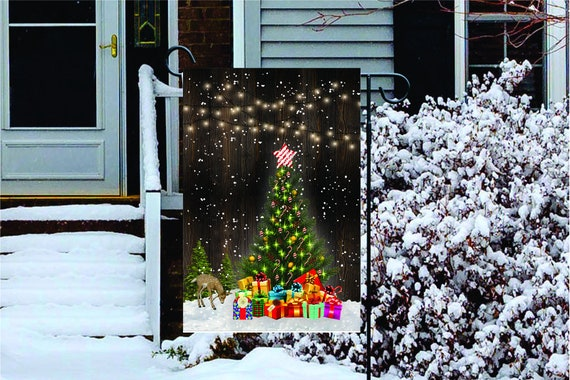 SNOWY CHRISTMAS LIGHTS- Double Sided or Single Sided Garden Flag  - Christmas Garden Flag - 12x18 Flag - High Quality Garden Flag