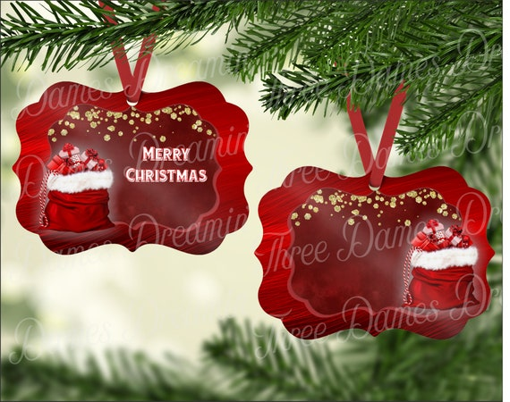 Ruby Red Ornament with Santa Sack Christmas Ornament Digital Download - Two Sided Digital Template - Personalized Ornament Download