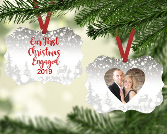 Our First Christmas Engaged Photo Insert Ornament Digital Download Two-Sided Ornament Downloadable File