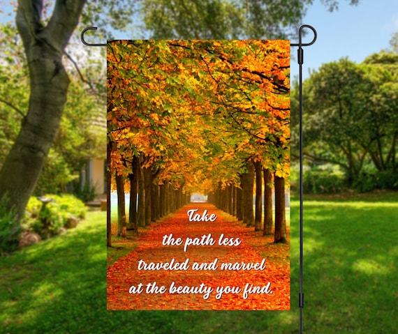 Autumn Colors Path Less Traveled Garden Flag Digital Download - Sublimation Template