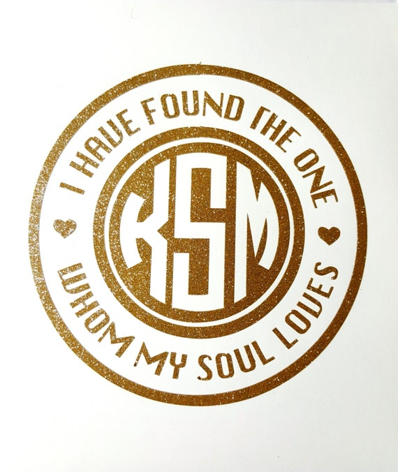 SOUL MATE DECAL - Soul Mate Monogram - Valentine's Decal - My Love - Laptop Decal - Valentine Sticker - Three Letter Monogram - Car Decal