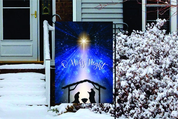 DIGITAL DOWNLOAD - O Holy Night Garden Flag Digital Download - Holy Family Star of Bethlehem Sublimation Template
