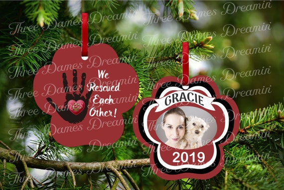 PET RESCUE Paw Print Ornament with Photo Insert - Two Sided Ornament Template - Christmas Ornament Download