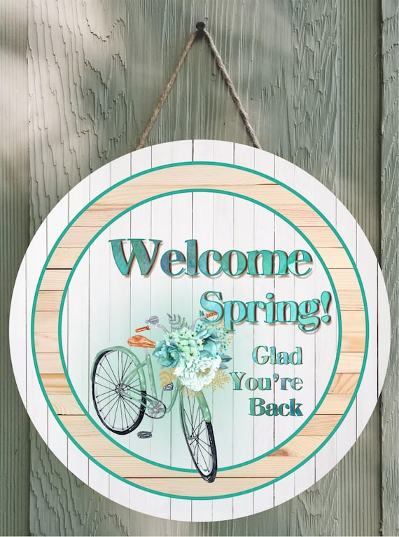 Welcome Spring Bicycle and Flowers Round Wall Decor or Door Hanger