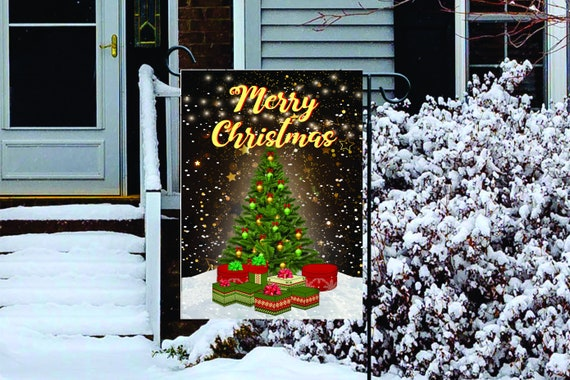 Snow and Golden Stars Christmas Tree Garden Flag Digital Download - Sublimation Template