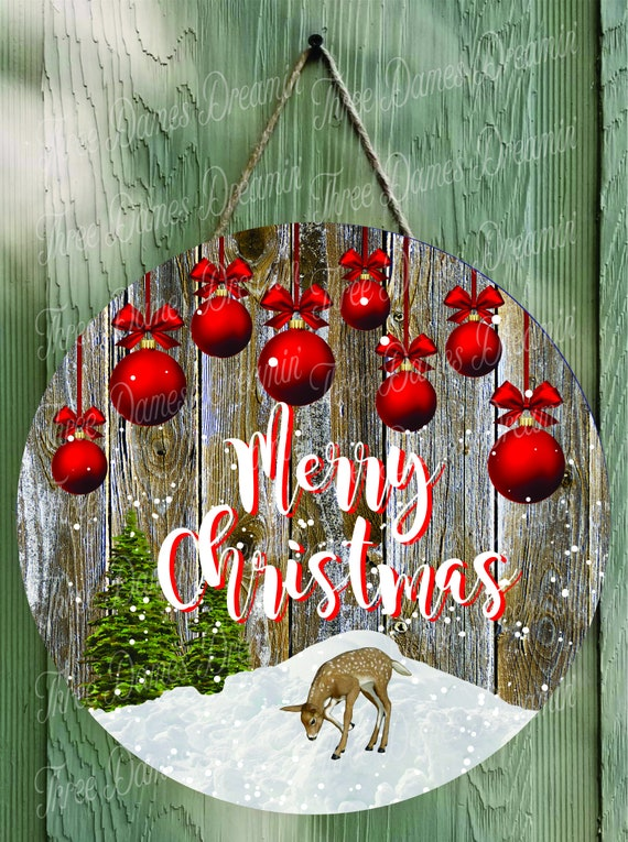 MERRY CHRISTMAS with Deer and Ornaments Digital Download
