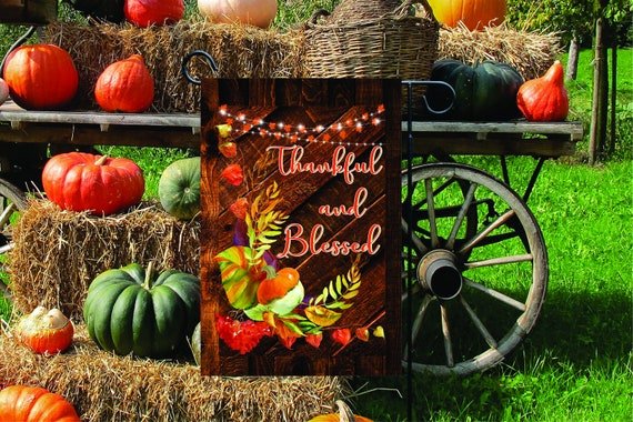 Thankful and Blessed Harvest Lights Autumn Flag - Double Sided or Single Sided Garden Flag  - Thanksgiving Garden Flag - 12x18 Flag