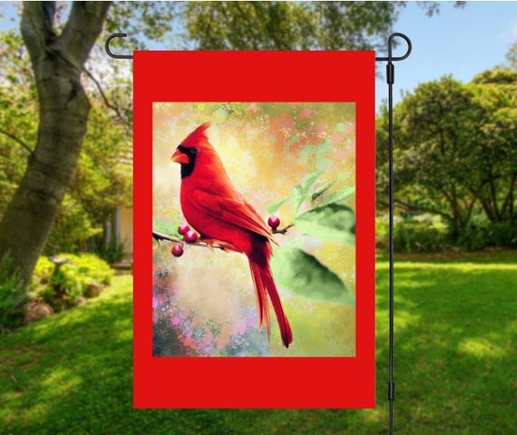 Red Cardinal Red Bird Garden Flag Digital Download - Sublimation Template
