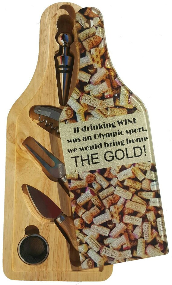 Wine Gift Set - Wine and Cheese - Wine Cork - Executive Gift - Barware - Cutting Board - Cheese Board - Wine Tasting - Winery - Olympic Gold