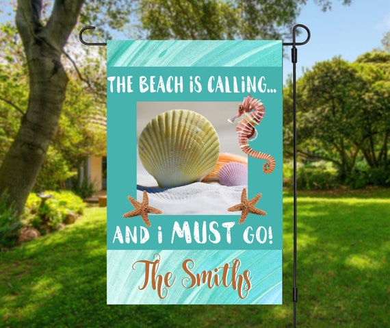Beach is Calling Garden Flag - Double Sided or Single Sided Garden Flag  - 12x18 Flag - High Quality Garden Flag
