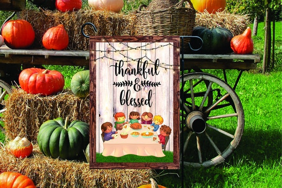 THANKFUL & BLESSED Thanksgiving Garden Flag Digital Download - Sublimation Template