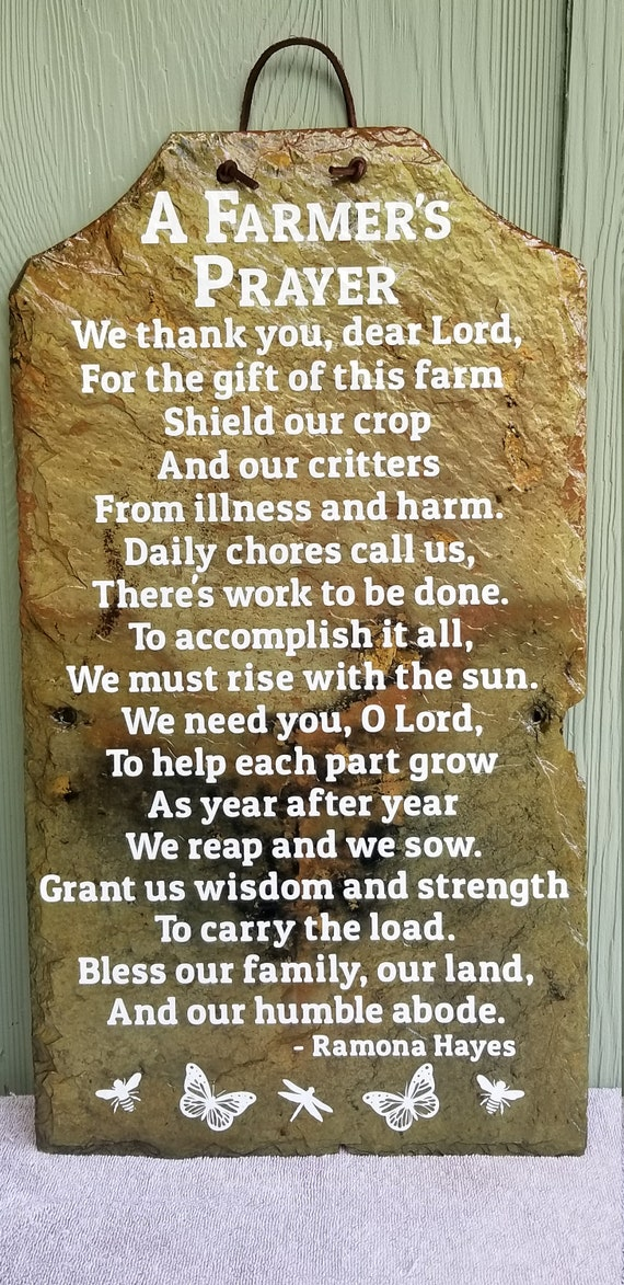 A FARMER'S PRAYER slate sign, Gift for a farmer, Slate Sign, Farm Blessing for Farmhouse Decor, Our Farm Life, Rustic slate sign for farmer