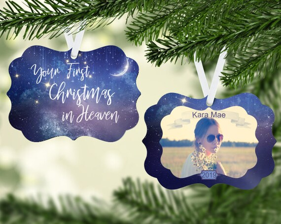 Your First Christmas In Heaven Photo Insert Ornament Digital Download Two-Sided Ornament Downloadable File