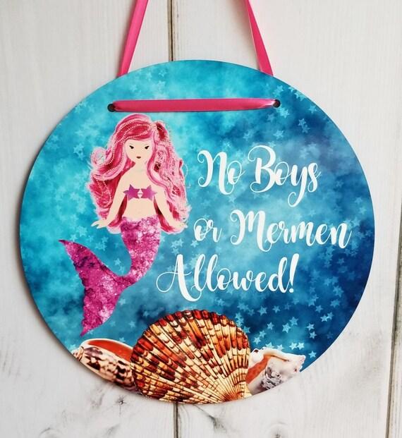 Mermaid Wall Plaque Girls Room - NO BOYS or Mermen Allowed Mermaid Door Hanger Round Template Digital Download