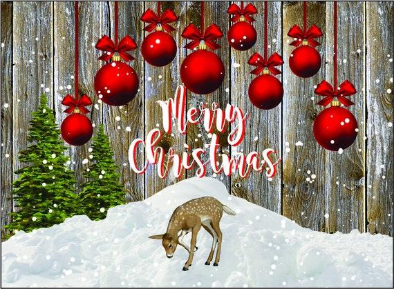 MERRY CHRISTMAS Deer Ornaments Cutting Board 8x11 Digital Download