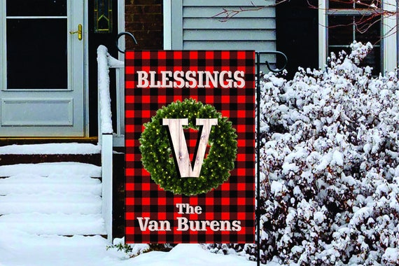Red Buffalo Plaid with Wreath Monogram and Name - Double Sided or Single Sided  High Quality Garden Flag