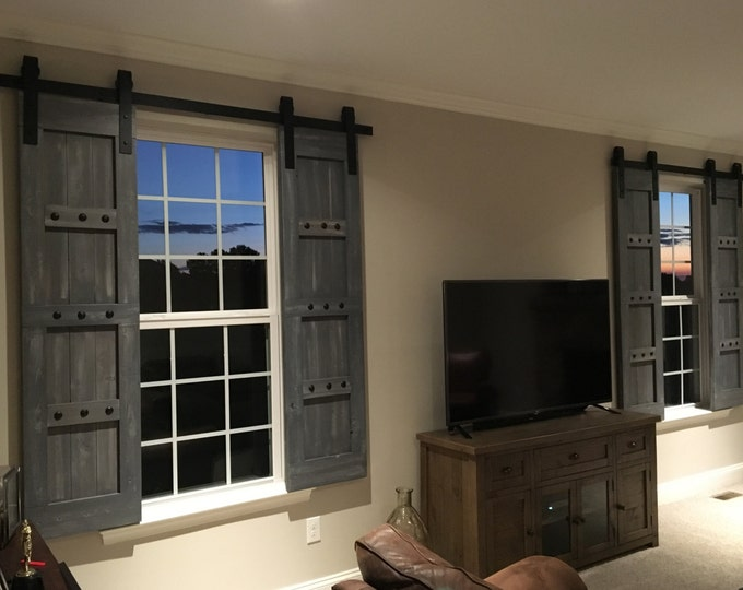 Featured listing image: Interior Window Barn Shutters - Sliding Shutters - Barn Door Shutter Hardware Packages Available  - Farmhouse Style - Rustic Wood Shutter