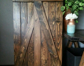 """Z Bar Rustic Wood Shutters - 60"""" Wooden Shutters - Barnwood Style Shutters  - Interior -Exterior - Decorative Shutters - Rustic Home Decor"""