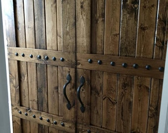 Interior Double Barn Door Package - Double Doors - Sliding Wooden Door - Barn Door Hardware - Farmhouse Style Barn Door - Interior Barn Door