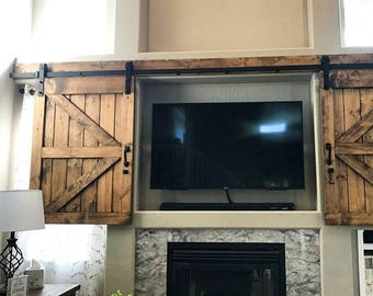 TV Hide Barn Door Set - Rustic TV Barn Door - Sliding Window - Interior - Sliding TV Cover - Barn Door Cabinet - Farmhouse Door