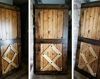 Custom RUNE Barn Doors - Viking Symbol - Sliding Wooden Door - Barn Door Hardware Available - Rustic Interior Barn Door - Barn Door