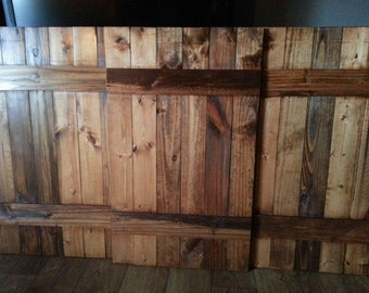 Rustic Wood QUEEN Headboard Shutter Set - Decorative Headboard Shutters - Interior Shutters - Wide Shutters - Wooden Headboard - Farmhouse