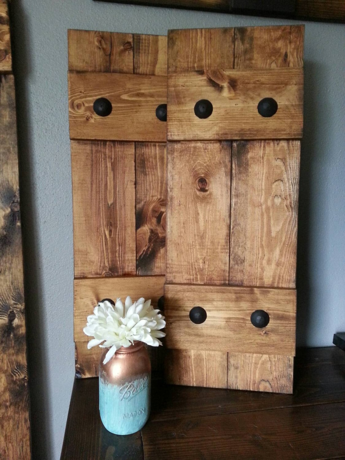 Decorative Metal Shutters For Living Room Interior Houston Tx: RUSTIC Wood Shutters With Clavos