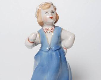 Vintage Porcelain Figurine, Statuette, girl in national dress with beer mug, Riga porcelain