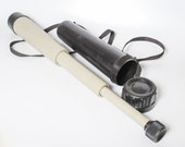 Vintage large folding spyglass telescope in original plastic case holder, USSR 1970-1980
