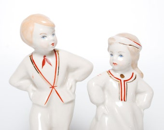Set of 2 Vintage small Porcelain Figurines, Statuette, boy and girl in national dress, Riga porcelain