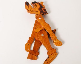 Vintage Russian Wooden Toy, the Wolf from cartoon Nu Pogodi  (RT036)