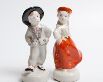 Set of 2 Vintage small Porcelain Figurines, Statuette, boy and girl in national dress, Riga porcelain (Art. PR)
