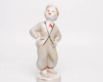 Vintage small Porcelain Figurine, Statuette, boy in national dress, Riga porcelain (Art. PR)
