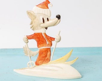 Vintage Russian Plastic Toy, skiing Wolf (RT040)
