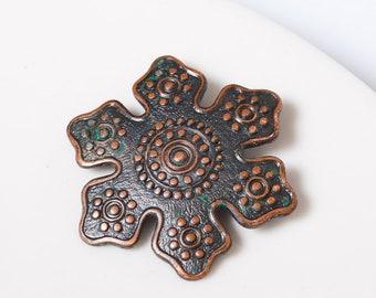 Vintage copper Ethnic Brooch, round national brooch