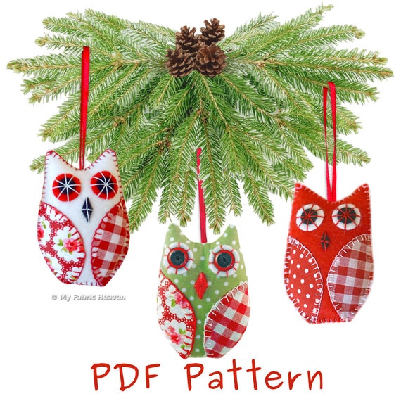 owl christmas tree decoration pdf sewing pattern full instructions make your own 10 cm tall