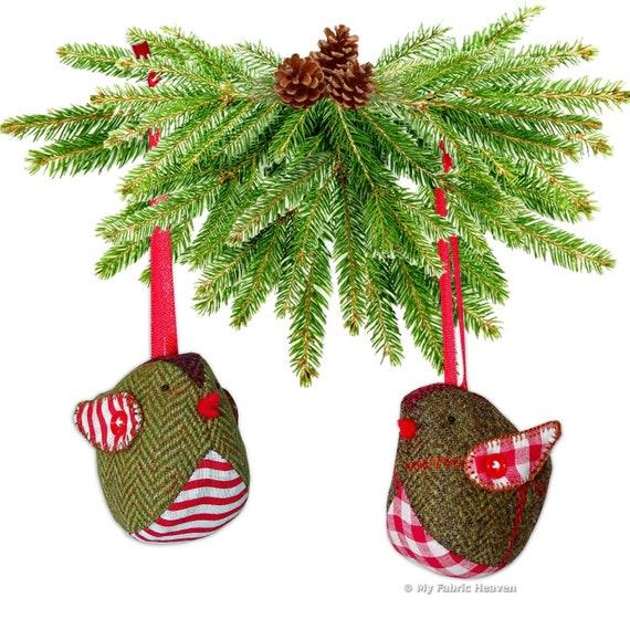 2 X Christmas Decoration Ornament Sewing PATTERNS Cute Owl /& Tweedy Pie Robin