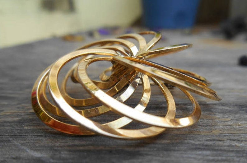 Vintage Spiral Brooch  Spiral Knot  3D Pin  Vintage Spiral Pin  Circle Brooch 12k Brooch  Mid Century Jewelry