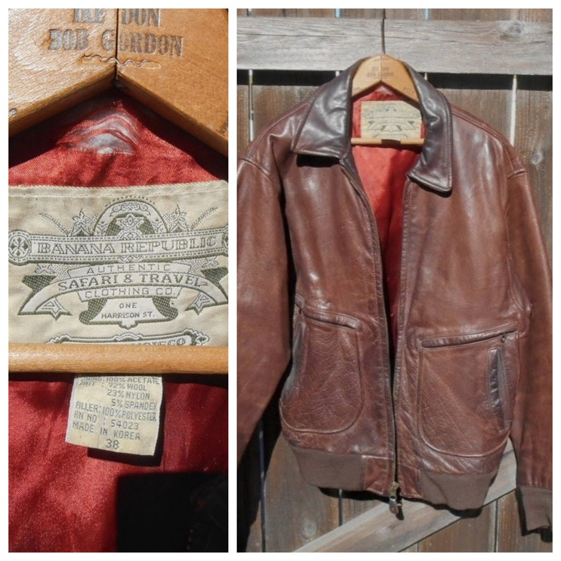 f12f6426d Vintage Banana Republic Leather Bomber Jacket / Men's Leather Jacket / Size  38 / 80s Banana Republic / Brown Leather Jacket