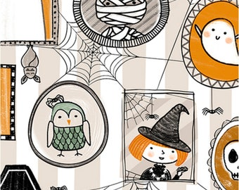 Boos and Ghouls Quilting Treasures Alicia Dujet for Ink and Arrow 1649 26562 Orange Halloween Characters Spiders Witches Ghosts Pumpkins