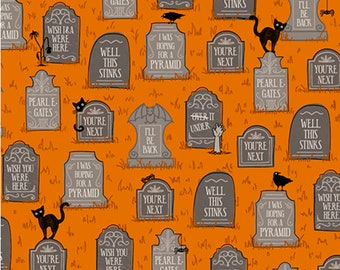 Boos and Ghouls Quilting Treasures Alicia Dujet for Ink and Arrow 1649 26564 HalloweenTombstones