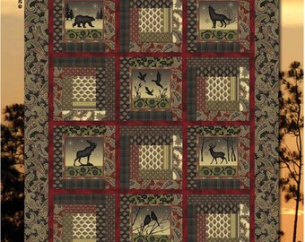 Shadow Mountain Quilt Kit by Dover Hill Studios for Benartex Size 53 by 67 Inches Cabin or Quilt Man Quilt  with Wildlife, Bears, Elk