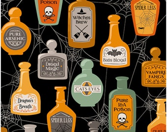 Boos and Ghouls Quilting Treasures Alicia Dujet for Ink and Arrow 1649 26563 Halloween Characters Potions