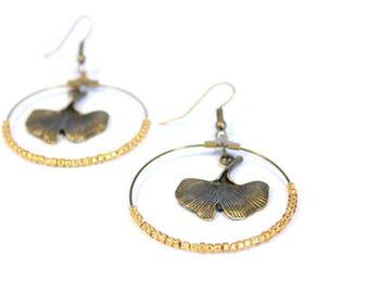 Leaf earrings / ginkgo earrings / bronze earrings / pierced ear rings / earrings