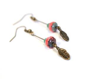 Feather earrings / ethnic earrings / bronze earrings / pierced ear ethnic beads / earrings