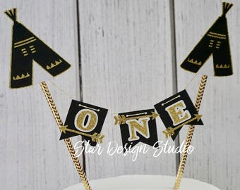 "Wild One Cake topper ""One"" Teepee, Arrows Wild One Cake Topper Birthday bunting Series 2- Any age and name available"
