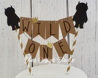 "Wild One Cake topper ""One"" Wild One Cake Topper Birthday bunting- Any age and name available"