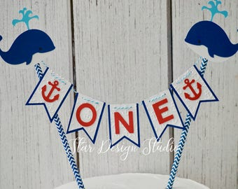 "Whale Cake topper ""One""  Cake Topper Birthday bunting- Series 2,  Any age and name available"